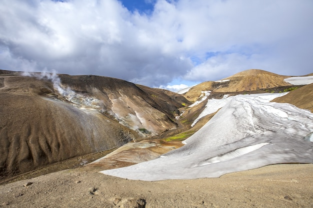 Beautiful natural environment on the trekking path of landmannalaugar in iceland