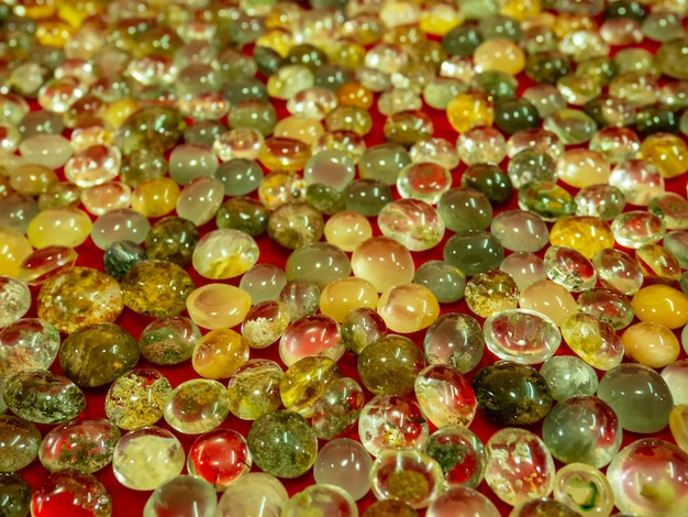 Beautiful natural glass stone. bright pile of crystal stone.