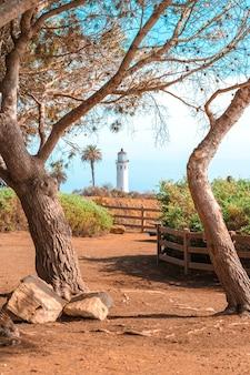 ポイント ビセンテ灯台のロサンゼルス海岸の美しい自然の風景
