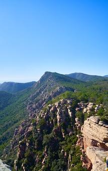 밝은 하늘 아래 녹지로 둘러싸인 바위 절벽이있는 아름다운 자연 경관