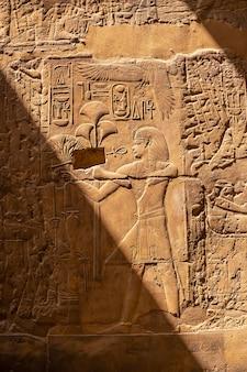 エジプト、ルクソール神殿内の古代エジプトの絵の美しい自然光