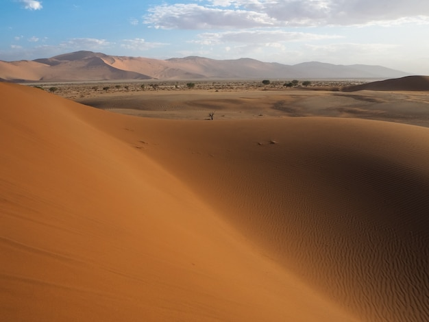 Beautiful natural rusty red sand dune and salt pan of vast desert landscape, namibia