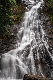 Beautiful natural sarika waterfall with rocks in the foreground at khao yai national park