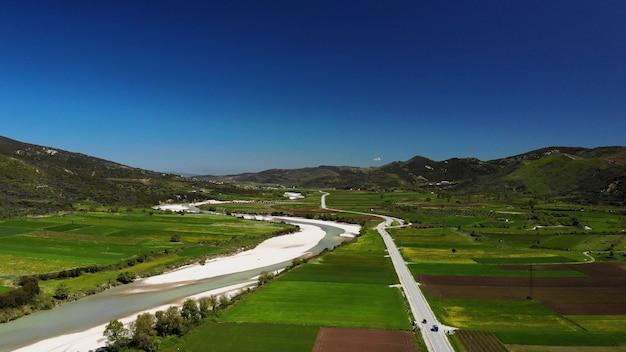 美しい自然アルバニア自然景観空中映像