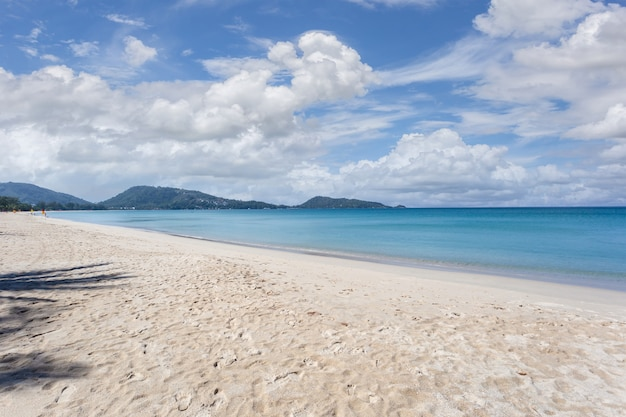 Beautiful nature of the andaman sea and white sand beach in the morning at patong beach, phuket island, thailand.