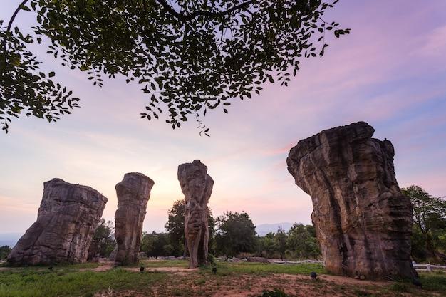 Beautiful nature during sunrise time at stonehenge of thailand