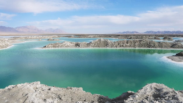 Beautiful nature landscape view of emerald salt lake in qinghai china