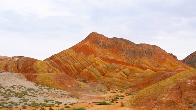 Beautiful nature landscape view of zhangyei danxia landform in gansu china.