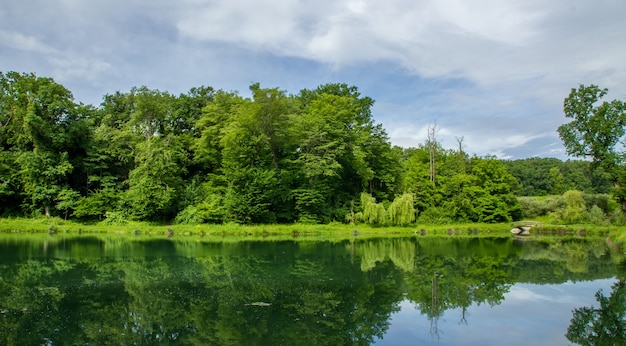 Beautiful nature of maksimir park in zagreb reflected in the water