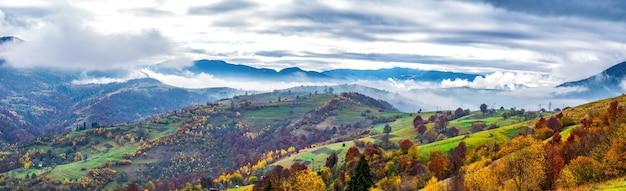 하늘, 숲, 작은 마을의 언덕에 있는 카르파티아의 아름다운 자연