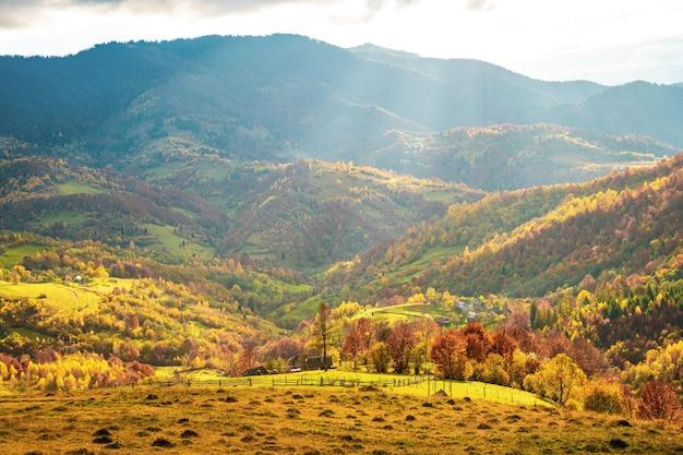 空の丘、森、小さな村のカルパティア山脈の美しい自然