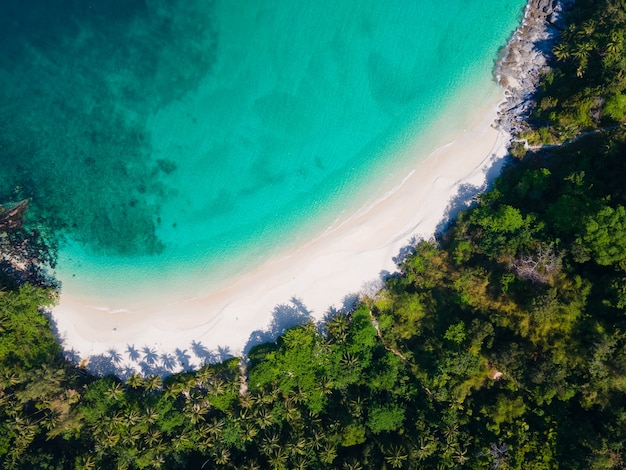 Beautiful nature sea thailand aerial view top view beach sea sand