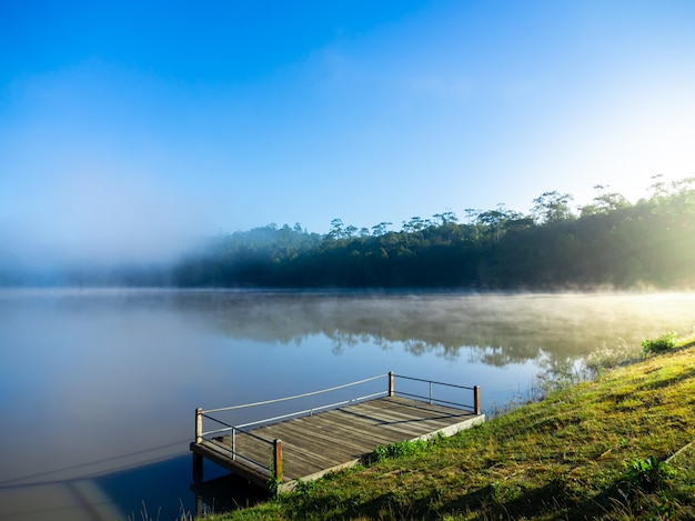 Beautiful nature view of the wooden pier. in the morning there was sunlight beside in the reservoir