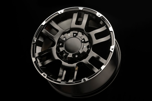 Beautiful new black alloy wheels for suv cars close up