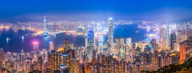 Beautiful night view of hong kong