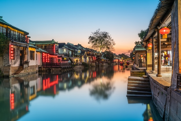 Beautiful night view of xitang ancient town