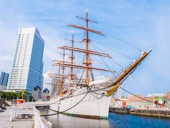 Beautiful Nippon-maru A sailing boat with blue sky in Yokohama city