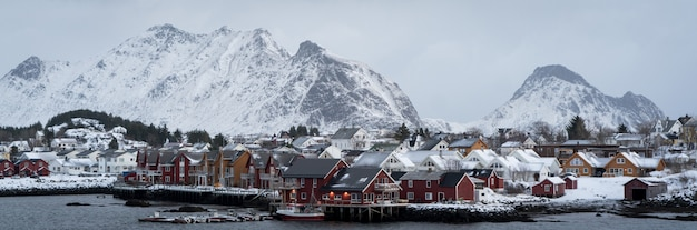Beautiful northern scandinavian lofoten in winter
