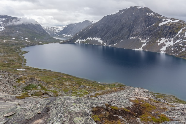 Beautiful norwegian landscape. view of the fjords. norway ideal fjord reflection in clear water.