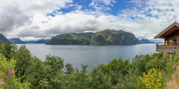 Beautiful norwegian landscape. view of the fjords with turquoise water. norway ideal fjord reflection in clear water. panoramic view