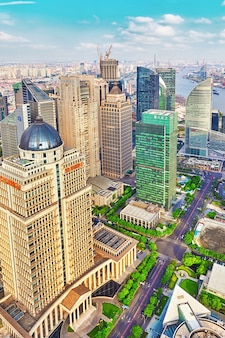 Beautiful office skyscrapers, city building of pudong, shanghai, china.