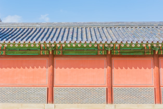 Beautiful and old architecture in changdeokgung palace in seoul city at korea