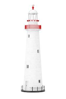 白い背景の上の美しい古い灯台。 3dレンダリング