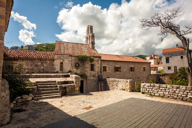 Beautiful old stone cathedral at ancient citadel in city of budva, montenegro