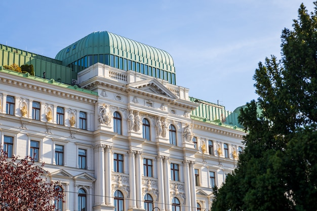 Beautiful old white building facade in  vienna city