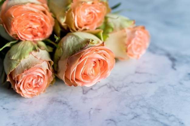 Beautiful orange coral peony shaped rose bouquet with roses on marble background tender blossoming pink rose flower.
