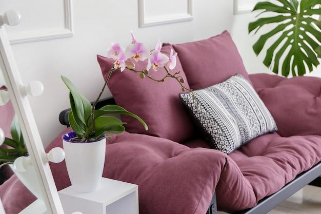 Красивый цветок орхидеи в интерьере комнаты