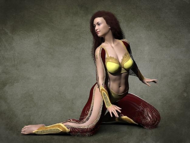 Beautiful oriental dancer. 3d illustration (11)