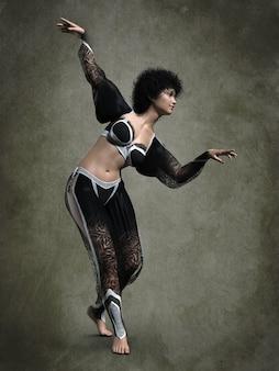 Beautiful oriental dancer. 3d illustration