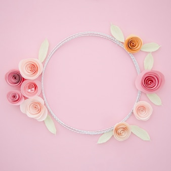 Beautiful ornamental frame with paper flowers