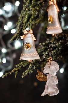 Beautiful ornaments in christmas tree