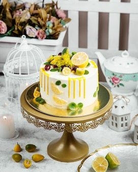 Beautiful ornated cake with lemon