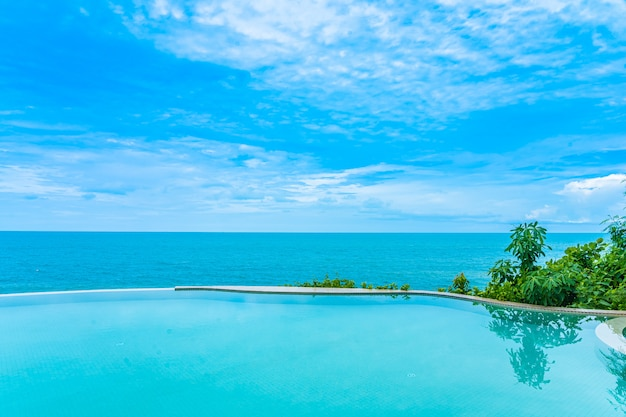 Beautiful outdoor infinity swimming pool with sea view