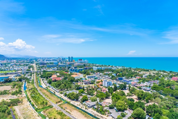 Beautiful outdoor landscape and cityscape of hua hin
