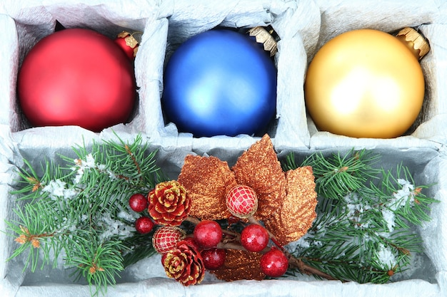 Beautiful packaged christmas balls, close up