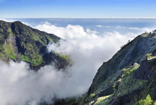 Beautiful panorama on the peak of mount rinjani