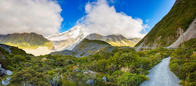 Beautiful panorama view of hooker valley track, aoraki mount cook south island new zealand