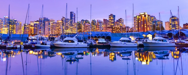 Beautiful panorama view in vancouver downtown british columbia canada
