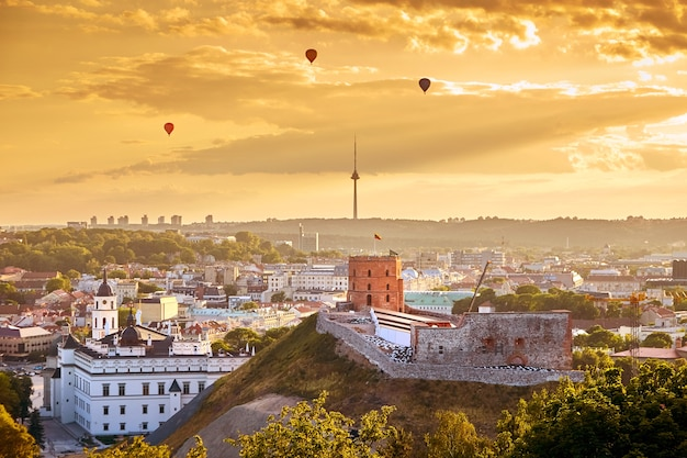 Beautiful panorama of vilnius old town on sunset