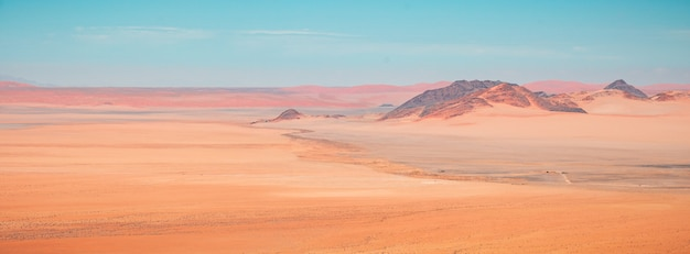 Beautiful panoramic high angle shot of namib desert mountains in kanaan, namibia