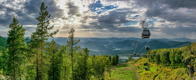 Beautiful panoramic shot of cableway over a forest