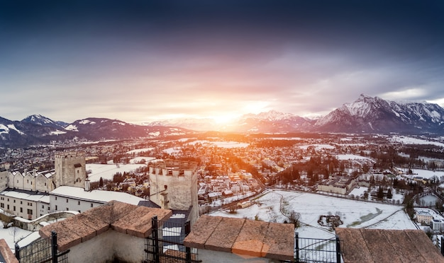 Beautiful panoramic shot of sunset over the  snowy alps next to salzburg