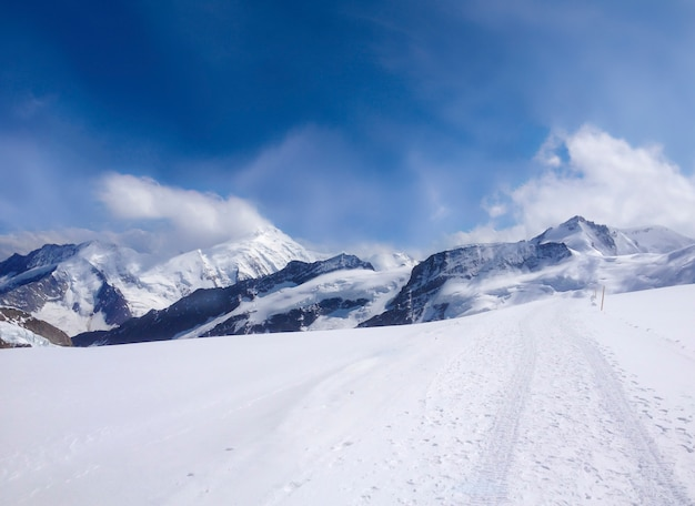 Beautiful panoramic view of jungfrau mountain alps landscape, switzerland, top of europe.