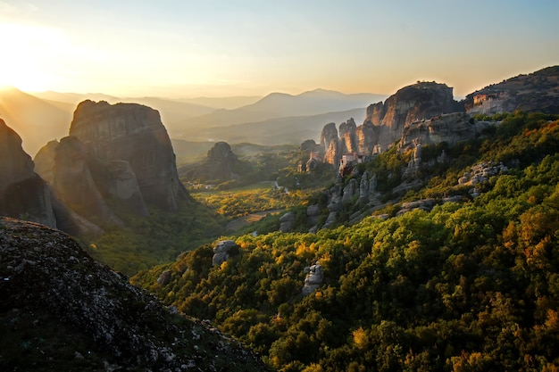 Beautiful panoramic view of meteora landscape at sunset