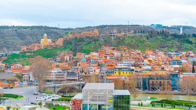 Beautiful panoramic view of old tbilisi, travel