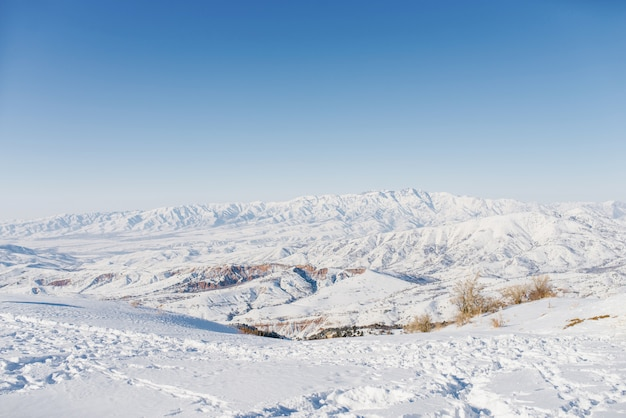 Beautiful panoramic view of snow covered mountains. the best view from the beldersay cable-way